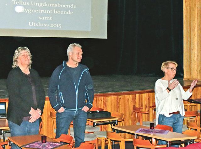 Kommunalrådet Helen Johansson Kokkonen (S) hälsade välkommen till mötet där också Marie Schmid (längst till vänster) och Peter Tirheden deltog.
