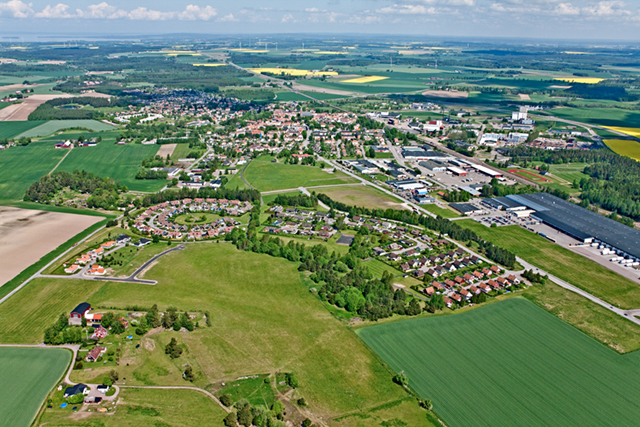 En bra svensk småstad lite från ovan.
