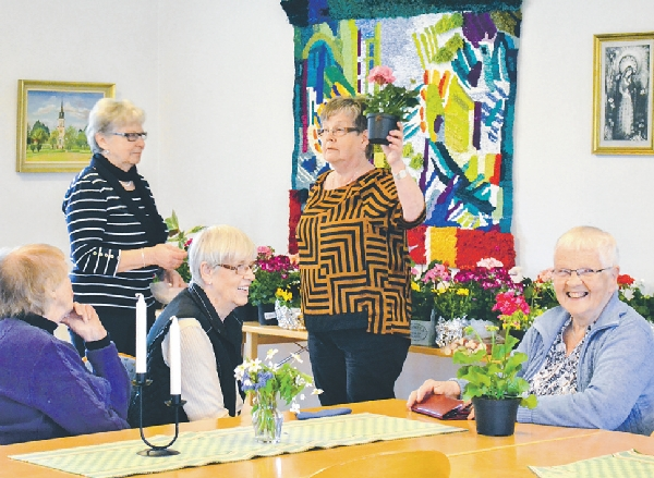 Gun Carlson auktionerar Blommor på rad som i slutänden bidrar till hjälp åt nödställda. ut vårblomster.