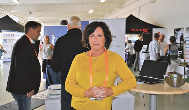 Projektledaren Anette Blomqvist, på mässan Åtvidaberg är öppet i Facetten.