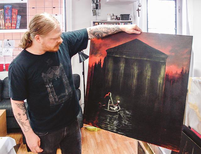 """Mattias inspireras ofta av tidigare konstuttryck, inte minst av romantiken under 1800-talet, som i den här tavlan där inspirationen kommer från """"De dödas ö"""" av Arnold Böcklin."""
