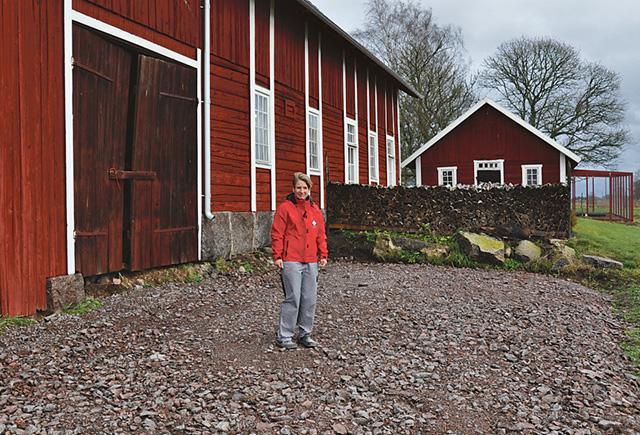 Här ska vinterträdgården uppföras. Fönstren på ladugården bakom Karin Lorin hör till kaféet.
