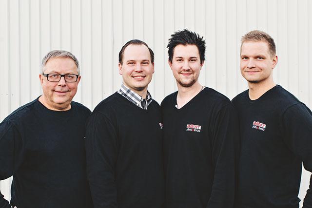 Personalen på Allert järn och bygg. Från vänster Christer Åhrman, Robert Allert, Adam Roth, Marcus Bodén. Bild: DESIRÉ ÖSTERGREN