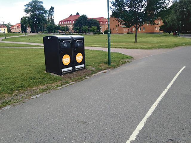 I Vasaparken i Norrköping testas nu Big Belly Solar, en ny typ av papperkorgar.