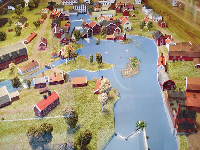 Modellen som finns i stadshuset är en bra utgångspunkt när man vill studera Mjölbys gamla kvarnby.